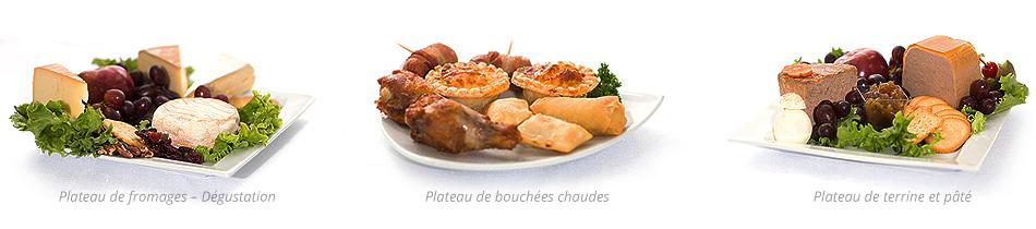 Plateau de terrine et pâté, plateau de bouchées chaudes, plateau de fromages
