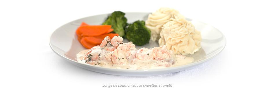 Longe de saumon sauce crevettes et aneth